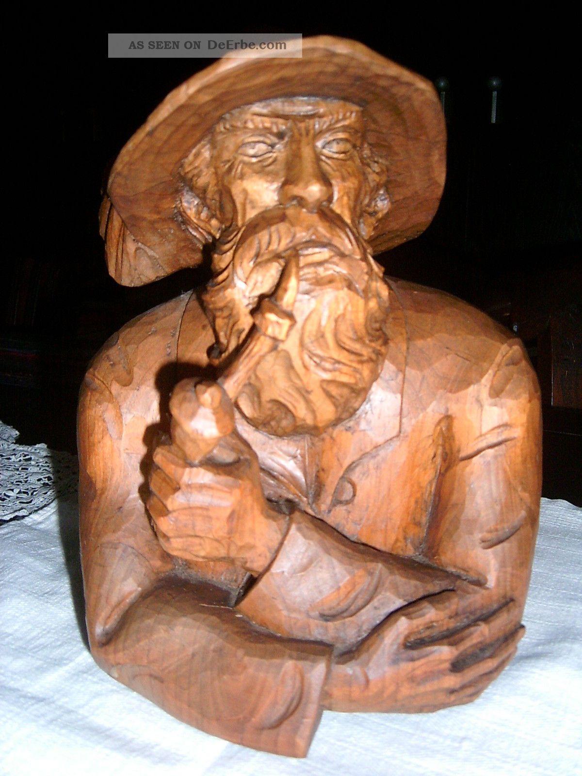 Holzskulptur, Holzkopf Alter Pfeifenraucher, Rauchender Mann