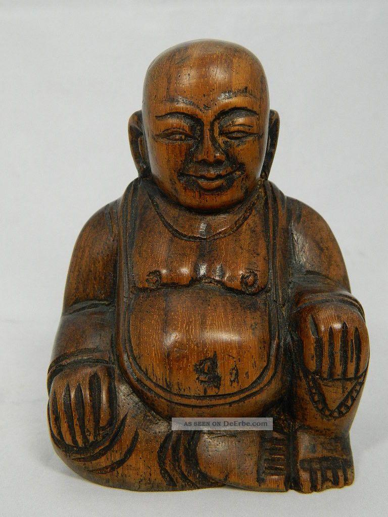 Skulptur des budai aus holz hotei buddha figur h he 10 cm for Buddha figur holz