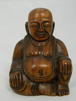 Skulptur Des Budai Aus Holz Hotei Buddha Figur Höhe 10 Cm Asien China 20.  Jhd. Bild