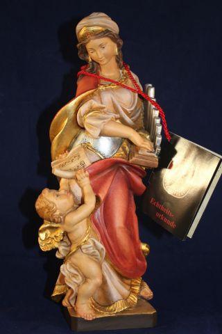 Holz Geschnitzte Heiligenfigur Hl.  Cäeilia Gold Und Bunt Gefasst Lepi L Bild
