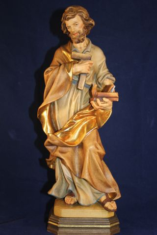 Holz Geschnitzte Heiligenfigur Hl.  Josef Gold Und Bunt Gefasst L Bild