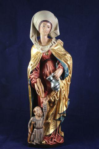 Holz Geschnitzte Heiligenfigur Mit Bettler Gold Und Bunt Gefasst L Bild