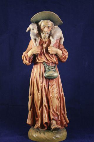 Holz Geschnitzte Heiligenfigur / Schäfer Bunt Gefasst L Bild