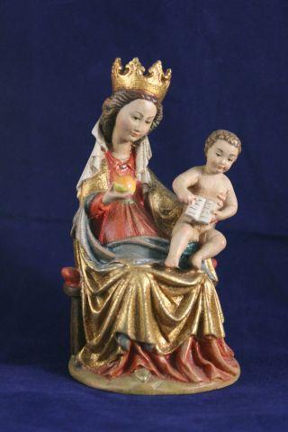 Holz Geschnitzte Hl.  Madonna Mit Kind Bunt Und Gold Gefasst L Bild