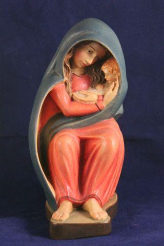Holz Geschnitzte Hl.  Madonna Mit Kind Bunt Gefasst L Bild