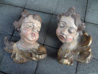 1 Paar Große Barock Engel Putto Holz Antik Bild