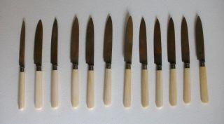 12 Obstmesser Uchatiusbronce Bronze Und Bein Um 1900 Bild