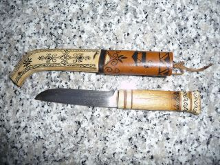 Lappland Messerscheide Mit Messer Knochen Oder Horn Holz Und Leder Bild