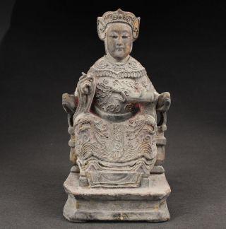 Sammeln Alte Königin Skulpturen,  Holz,  China Selten Bild