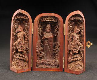 Sammeln Alte Kwan - Yin Immortal Skulpturen,  Buchsbaum,  China Selten Bild