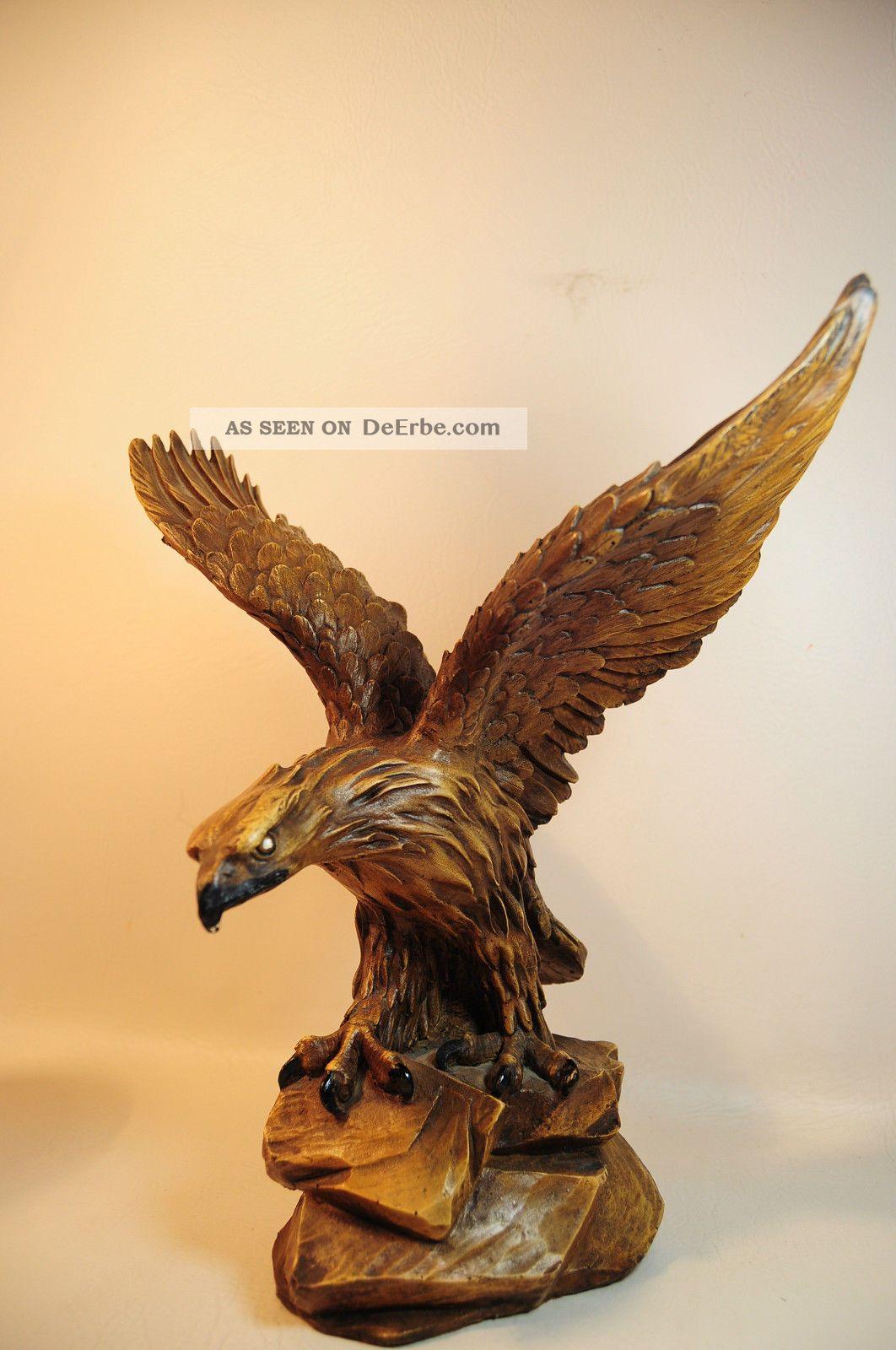 Holzfigur Adler Vogel Figur Holz Geschnitzt - Kua