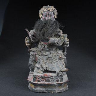 Große Sammeln Alte Guanyu 关羽 Held Skulpturen,  Holz,  China Selten Bild