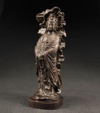 Sammeln Alte Kwan - Yin Blume Skulpturen,  Ebenholz,  China Selten Bild
