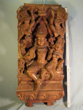 Großes Altes Relief 62x29 Cm Indien Schweres Holz Geschnitzt Mit 4 Göttern Bild