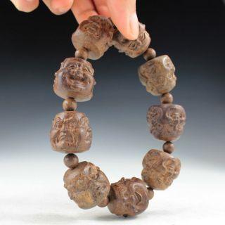 Sammeln Alte Chinesische Ebenholz,  Lachen Buddha Armreifenw Selten Bild