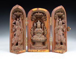 Sammeln Alte Chinesische Buchsbaum,  Buddha Skulpturen Box Selten Bild