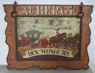 Ates Antikes Schild Holzschild F.  Conz Gemälde Franz.  Auberge Des Voyageurs Bild