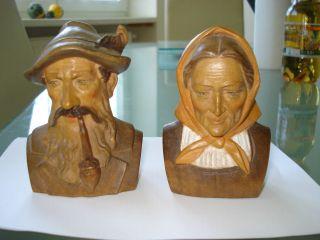 Altes Paar/ Büste Oberammergauer Holzschnitzerei Bild