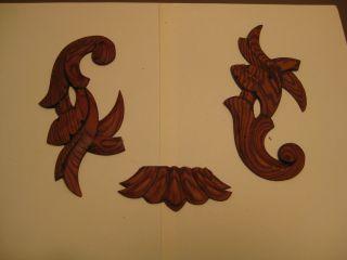 3 Holzornamente Holz Zierleiste Holz Dekor Ornamente Zierelement Holzprofil 2 Bild