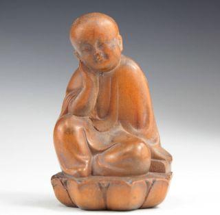 Chinesische Antiquitäten Buchsbaum Buddha Skulpturen Selten Bild