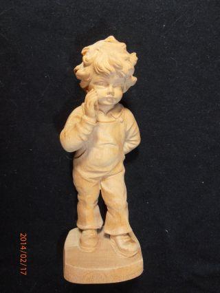 Alter Aus Holz Geschnitzter Junge 15 Cm Bild