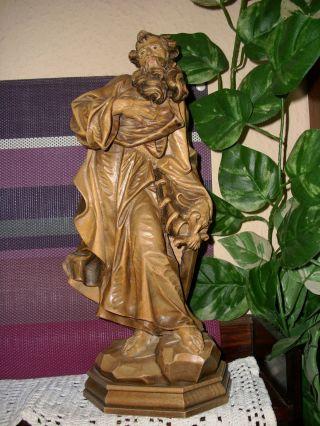 Holzfigur - Heiligenfigur - Hl.  Paulus Mit Schwert Und Buch - Geschnitzt - Deko - Südtirol? Bild