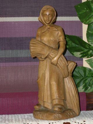 Holzfigur - Heiligenfigur - Frau Mit Ähren Und Sichel - Hl.  Notburga? - Geschnitzt - Deko Bild