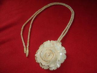 Halskette Bein Beinkette Große Rose Geschnitzt Anhänger Kette Art Deco Jb56 Bild