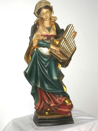 Holzschnitzerei,  Orgelspielerin,  Mädchen M.  Orgel,  Zigeunerin,  36cm,  Musikantin Bild