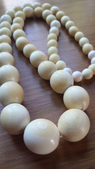 Schöne Schwere Biedermeier Kugel - Kette Bein Perlenkette 74gr Bild