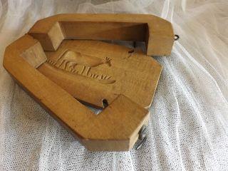 Altes Buttermodel Butterform Holzmodel Mit Kuh,  Form Zum Öffnen Bild