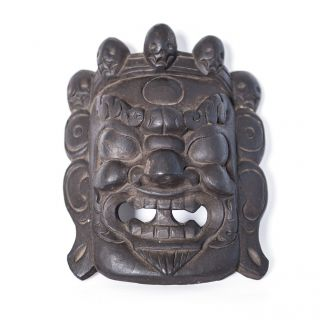 Geweihte Bhairav Holzmaske Mahakala Maske Holz Nepal Bild