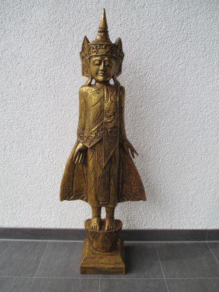 Buddha Statue Holzbuddha Tempelwächter Bild