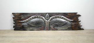 Wandbild Bild Buddhas Auge Holzschnitzerei Indonesien Holz 100cm Asien Silber Bild