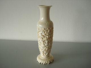 SchÖne Antike Rosen Geschnitzte China Beinvase Handarbeit Ansehen Top Bild
