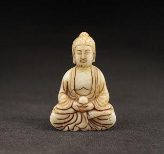 Alte Buddha Skulpturen Anhänger Netsuke,  Natürlicher Jade Stein,  China Bild