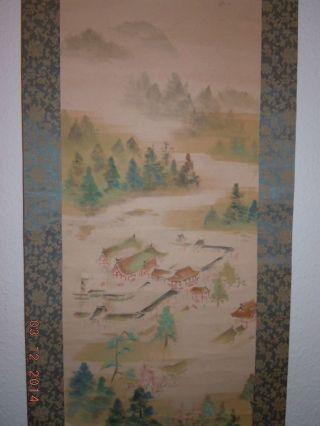 Chinesisches Japanisches Asiatisches Rollbilder China Aquarell Antik Asiatika Bild
