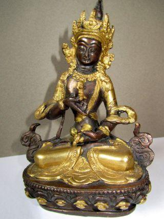 Buddha Ganesha Vajrasattva Glocke Yoga Mantra Figur Statue Bronze Gold Nepal Bild