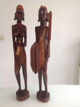 Afrikanische Handgeschnitzte Holzskulpturen Krieger & Frau,  62 Cm Groß Bild