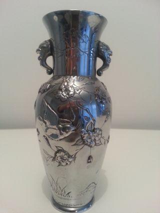 RaritÄt SchÖne Vase Japan Meiji - Periode 1868 - 1912 Metall BlÜten Vogel. Bild