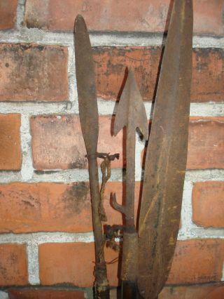 3 Speere Afrika Massei Metall Eisen Antik Alt Kurzspeer Löwenjagd Spear Wapon Bild