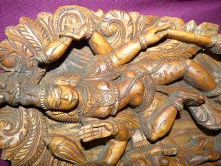 Antikes Holzrelief Vishnu Buddha Tempelfries Hausaltar Holzpanel Skulptur Indien Bild