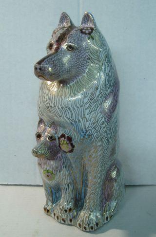Herrlicher Hund Mit Hundebaby,  Cloisonne - Arbeit, Bild