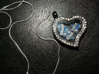 1 Silber Silber Floating Medaillon Kette Anhänger Kette Halskette Herz Liebe Bild