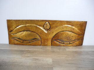 Wandbild Bild Buddhas Auge Holzschnitzerei Indonesien Holz 60cm Asien Gold Bild