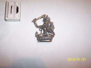 Versilberte Bronzefigur Boddhisattva Manjushri Tibet.  Buddhismus,  H 7 Cm,  108 G Bild