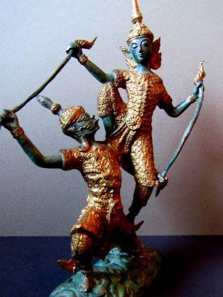 Buddha Ganesha Tempeltänzer Siam Paar Tanz Figur Statue Bronze Vergoldet Selten Bild