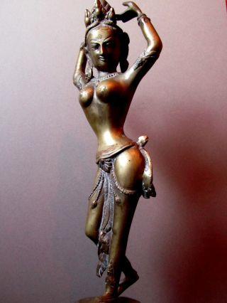 Buddha Ganesha Tara Tempeltänzerin Figur Statue Bronze Messing Nepal 43 Cm Bild