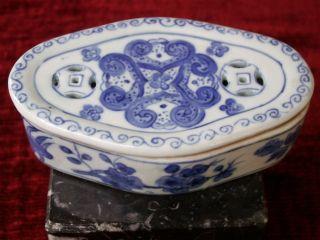 Döschen Porzellan China,  Blau Weiß,  Handarbeit,  Oval,  Luftlöcher Für Tee? Bild