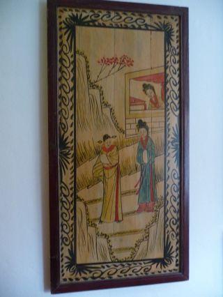 Malerei Auf Holz,  Holzbild,  Wandbild Qing - Dynastie Epoche Des Letzen Kaisers Puyi Bild